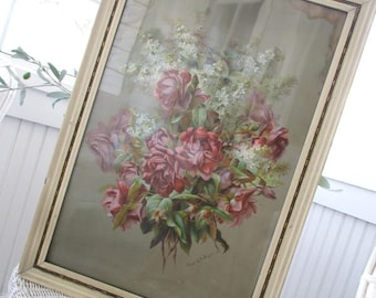 Antique Litho * Signed Raoul de Longpre * Vintage Roses and Lilacs * Framed