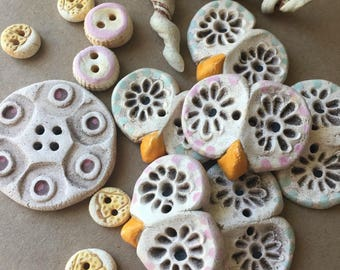 SALE - Lot of Buttons - Handmade Ceramic Buttons - Whimsical