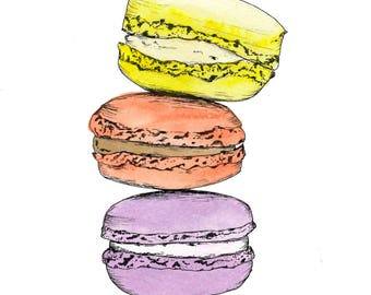 Macaroons, Watercolor Dessert Illustration, handmade, Art Print, Wall Art