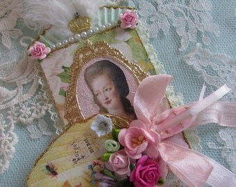 Marie Antoinette Gift  ATC ACEO With Moveable fan Artist Trading Card Original Art Card Mixed Media ATC