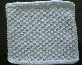 Hand Knit White Dishcloth - measures approximately 9x91/2 inches