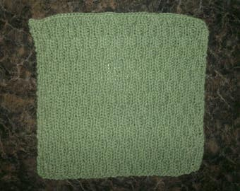 Hand Knit Sage Green Dishcloth - measures approximately 9x9 inches
