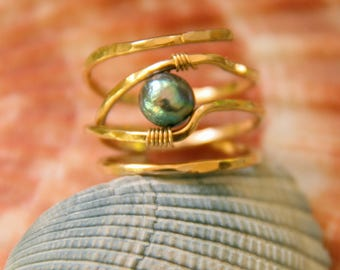 Beautiful 14k gold plated open wrap ring with blue pearl