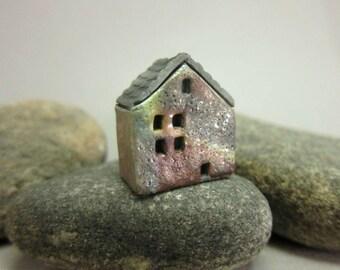 Raku House Bead/Pendant...Matte Copper Patina