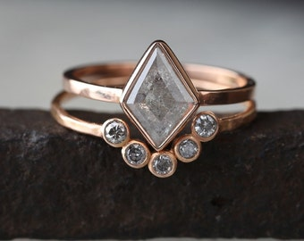 Custom Natural Geometric Diamond Ring