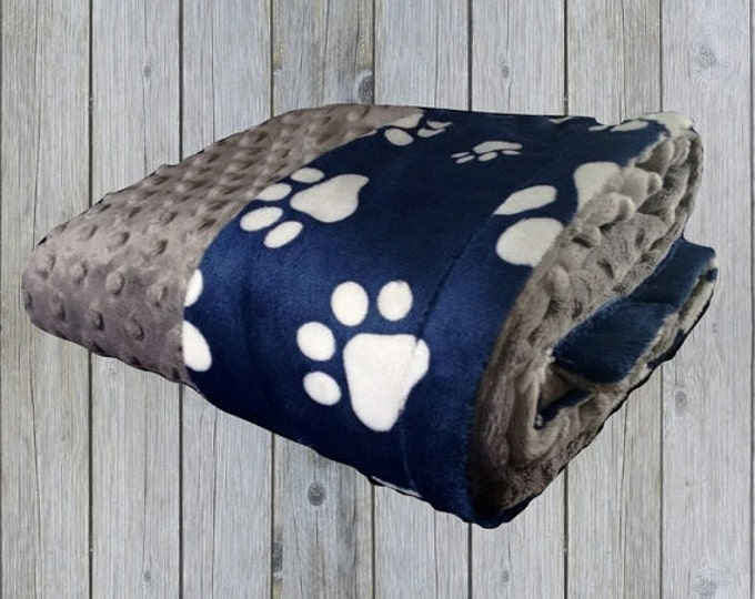 SALE Navy Blue and White Paw Print Minky Blanket, Navy Blue Dog or Pet Blanket, available in three sizesCan Be Personalized