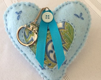 Heart Key Ring/Fabric Keychain