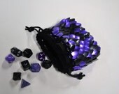 Dice Bag in Black and Purple Dragonhide Knitted Scalemail Armor