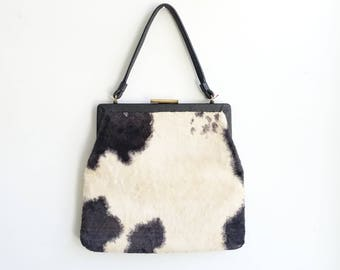 Vintage 60's Cow Print Faux Fur Handbag/ Hair On Hide Purse/ Vegan
