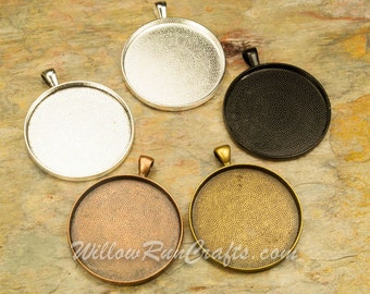 10 pcs 38mm Circle Pendant Trays in Antique Bronze, Antique Copper, SIlver or Black, Blank Bezel Cabochon Setting
