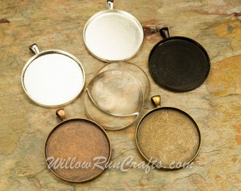 150 pcs 38mm Circle Pendant Trays with 150 Glass Cabochons Antique Copper, Antique Bronze, Silver and Black, Blank Bezel Cabochon Setting