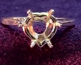 Sterling Silver ~ 8mm Heart Shape DEEP Ring setting / Mounting ~ Custom sized from 5 to size 12 ~ to be ordered ~ #632 ~ FDK