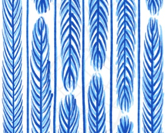 Palm Fronds in Blue (Instant Download)