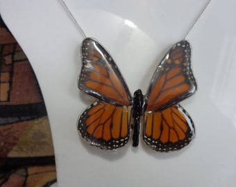 Real  Monarch Butterfly Necklace