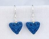 Blue Cinnabar Heart Earri...
