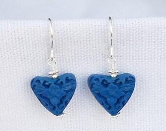 Blue Cinnabar Heart Earrings