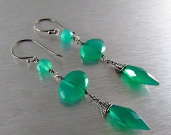 25OFF Green Onyx And Oxidized Sterling Silver Dangle Earrings