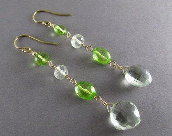 25OFF Green Amethyst With Peridot Quartz Gold Filled Dangle Earrings