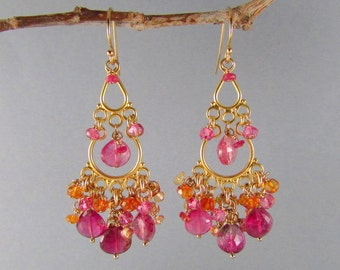 25 OFF Pink Tourmaline With Sapphire And Quartz Gold Filled Cluster Chandelier Earrings