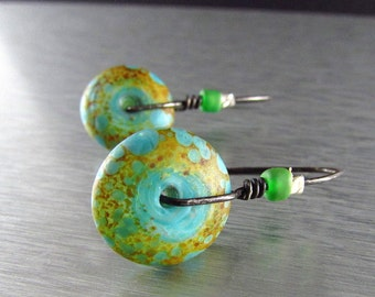 Lampwork With Oxidized Sterling Silver Earrings