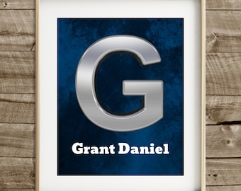 Boys wall art baby boy nursery wall art boy room decor custom name print navy blue modern nursery personalized baby personalized nursery art