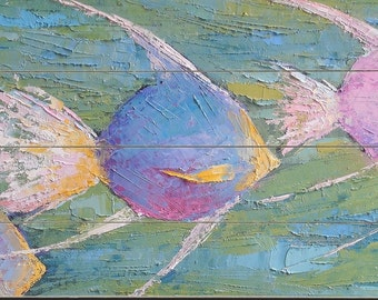 Fish Painting Print, Giclee on Wood, Distressed Wood Planks, Free Shipping, Choose your Size, Ready to Hang, No Frame Needed