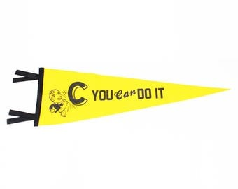 """Wall Pennant Decor Hanging """"You Can Do It"""""""