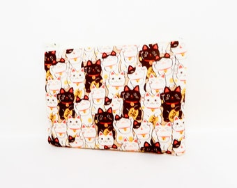 Lucky Cats Fabric Pouch, Zipper Pouch, Pouch, Fabric Pouch, Small Pouch, Coin Purse, Change Pouch, Small Cosmetic Pouch, Small Zipper Case