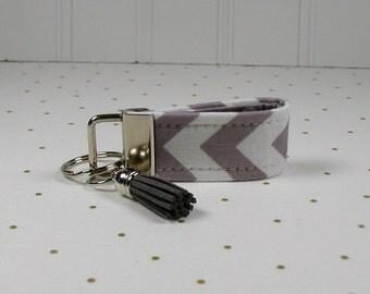 Mini Key Fob with Tassel, Mini Fabric Key Fob with Tassel, Chevron in Gray