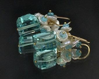 Aqua Earrings Cluster Earring Keishi Pearl Aqua Quartz Gemstone Dangle Apatite Cluster, 14kt Gold fill