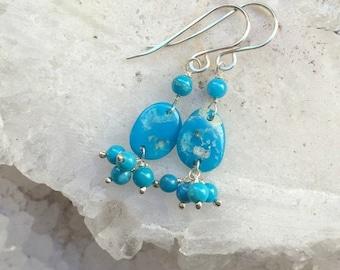 50% SALE Turquoise Slice Earrings Gem Slice Wire Wrap Earrings American Turquoise Sterling Silver Earrings Petite Cluster Earrings Turquoise