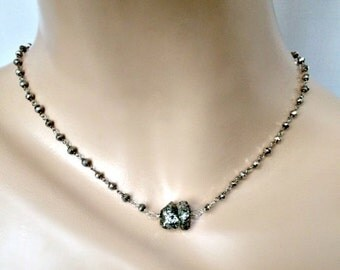50% SALE Pyrite Wire Wrap Necklace Glittery Pyrite Nugget Choker Silver Rosary Chain Pendant Necklace Metallic Necklace
