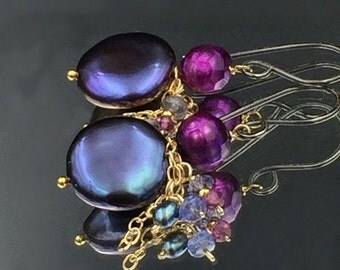 35% OFF Peacock Coin Pearl Earring Oxidized Silver Gold Fill Chain Dangle Tanzanite Garnet Wire Wrap Fuchsia Laser Pearl Mixed Metal Earring