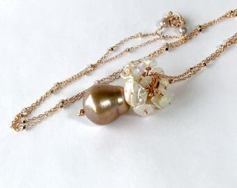 Pearl Opal Pendant Baroque Champagne Pearl Necklace Rose Gold Filled Necklace Opal Keishi Pearl Cluster Jewelry Beige Pearl Pendant