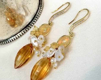 SPRING SALE Opal Earrings Citrine Earrings Keishi Pearl Cluster Earring November Birthstone Yellow Gemstone Ethiopian Opal Wire Wrap Cluster