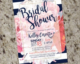 Vintage Peonies with Navy Stripes - Coral Pink Blue Bridal Shower Invitation with Gold Accent - DIY Print Your Own