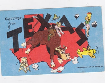 Vintage post card greetings from Texas