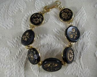 BLACK & GOLD VICTORIAN Glass Button Bracelet Featuring Floral Designs