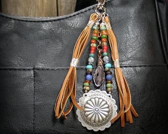 Purse Tassel, Southwest Tassel, Tassle, Native American, Leather Tassel, Beaded Purse Clip, Zipper Pull, Southwest Boho Clip