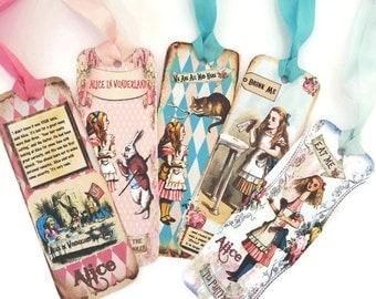 Bookmarks, Alice in Wonderland, Vintage Retro Tag, Paper Bookmark, Tea Party Favor, Cheshire Cat, Fairytale Children Party, Eat me Drink me