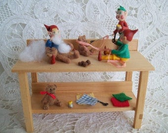Miniiature, one inch scale, hand made, Elves in the Workshop