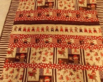 ON SALE Sock Monkey Baby Toddler Quilt~Quilting Treasures Sock Monkey~Handmade Baby Toddler Quilt~Nap Time Quilt
