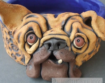 Bulldog Ceramic Sculpture and Dog Bowl or Dish
