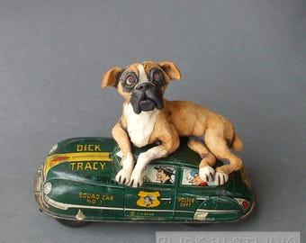 Boxer Dog on Dick Tracy Antique Toy Car Mixed Media Sculpture