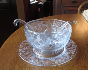 Cambridge Glass Elaine 2Pt Salad Dressing + Liner Plate +Ladles Tally Ho Shape