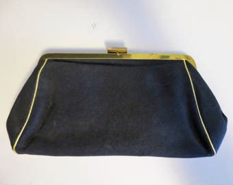 Black Clutch Purse with Cosmetics - Fuller Brush Leading Lady - 1950s-60s