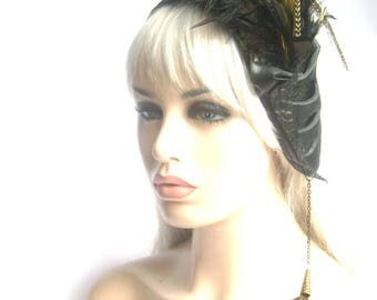 Side feather headband, gypsy, boho, goddess feathered headpiece, Rara Avis collection by Renegade Icon Designs