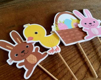 Easter Party - Set of Double Sided Assorted Easter Bunny and Chick Cupcake Toppers by The Birthday House