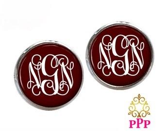 Maroon Monogram Earrings Personalized Monogram Jewelry Style 556