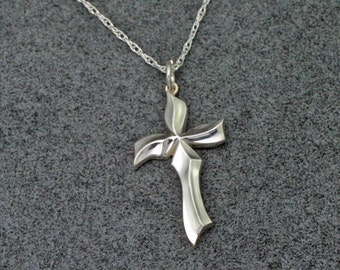 """SCULPTED CROSS, Handmade Christian Necklace in Sterling Silver, includes 18"""" chain"""